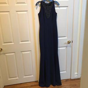 Carmen Marc Valvo Midnight Blue Gown